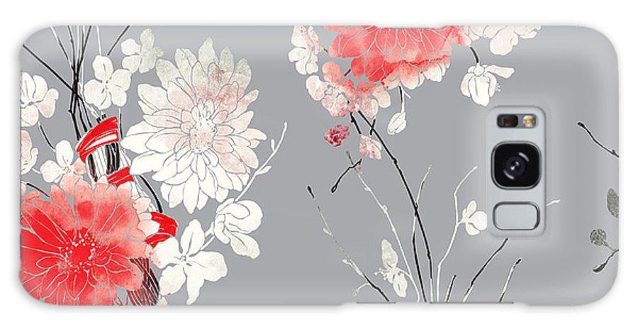 Gift Galaxy Case featuring the digital art Imprints Sakura And Chrysanthemum. Hand by Liia Chevnenko