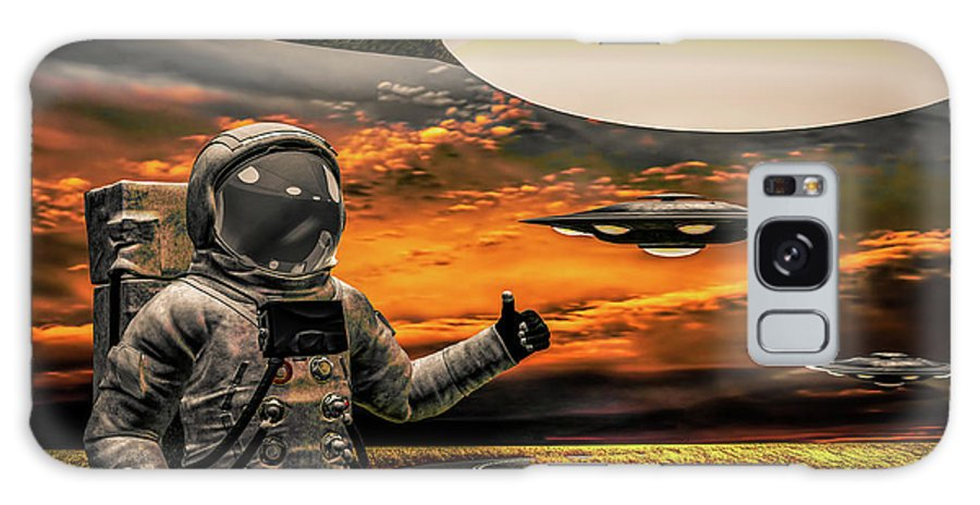 Astronaut Galaxy S8 Case featuring the photograph Ironic Number Four - Hitchhiker by Bob Orsillo