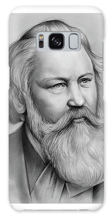 Johannes Brahms Galaxy Case featuring the drawing Johannes Brahms by Greg Joens