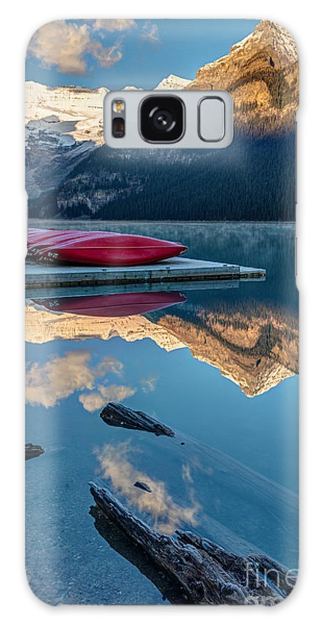 Glaciers Galaxy Case featuring the photograph Lake Louise Canoes In Banff National by Pierre Leclerc