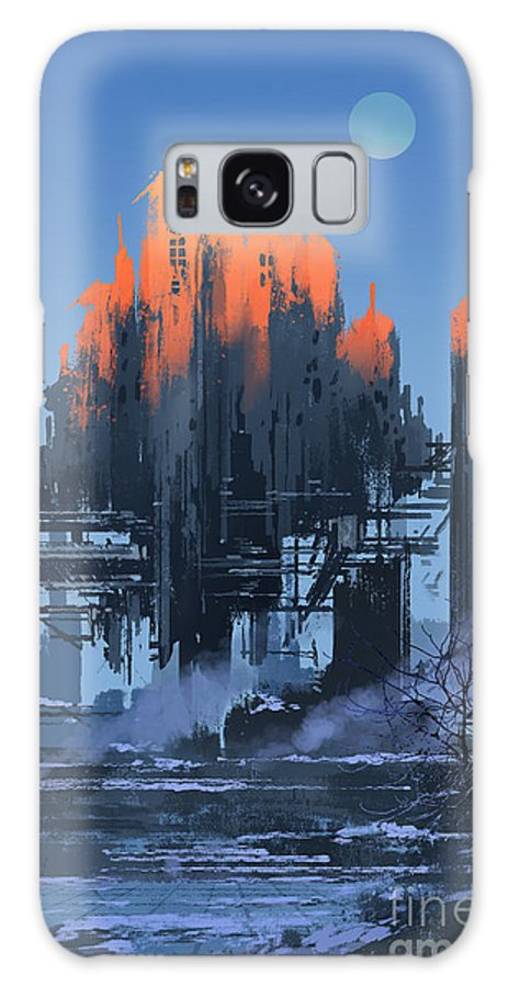 Fi Galaxy S8 Case featuring the digital art Landscape Painting Of Abandoned by Tithi Luadthong