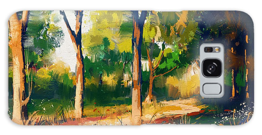 Forest Galaxy Case featuring the digital art Landscape Painting Of Beautiful Summer by Tithi Luadthong