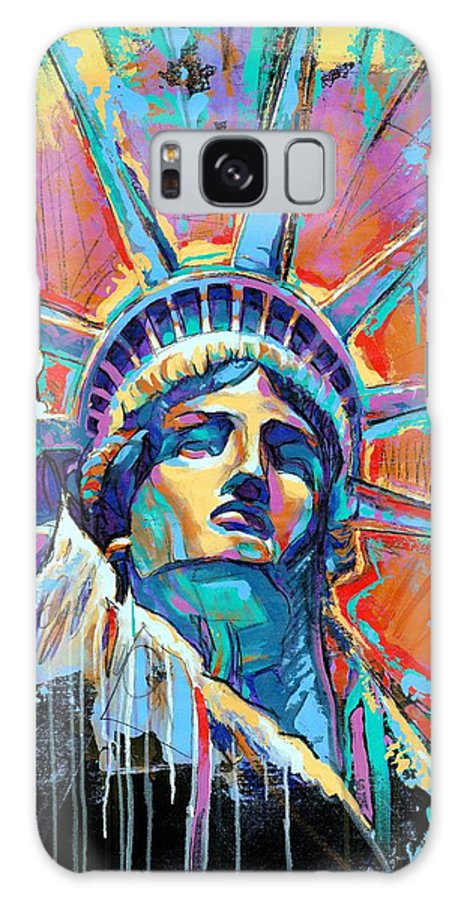 New Galaxy S8 Case featuring the painting Liberty In Color by Damon Gray