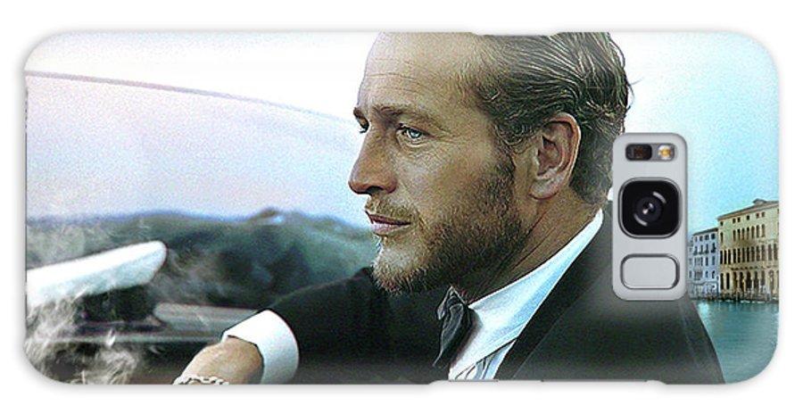 Paul Newman Galaxy Case featuring the mixed media Life is a Journey, Paul Newman, movie star, cruising Venice, enjoying a Cuban cigar by Thomas Pollart