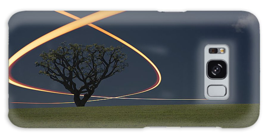 Scenics Galaxy Case featuring the photograph Light Trails Around Tree by Paul Taylor