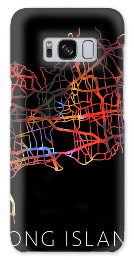 Long Island Galaxy Case featuring the mixed media Long Island New York Watercolor City Street Map Dark Mode by Design Turnpike