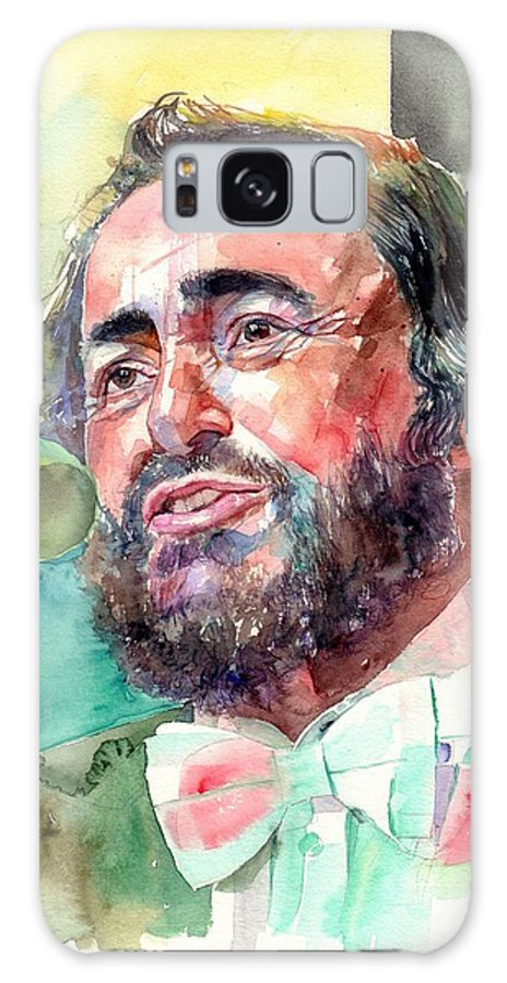 Luciano Pavarotti Galaxy Case featuring the painting Luciano Pavarotti Portrait by Suzann Sines
