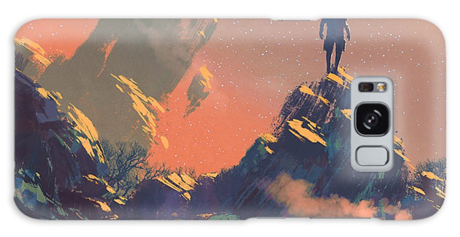 Fi Galaxy S8 Case featuring the digital art Man Standing On Top Of The Hill by Tithi Luadthong
