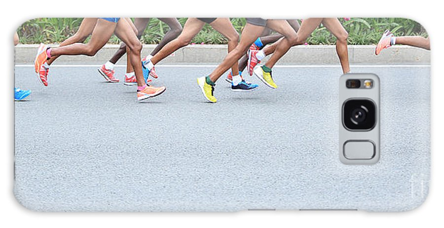 Compete Galaxy S8 Case featuring the photograph Marathon Running Race, People Feet On by Lzf