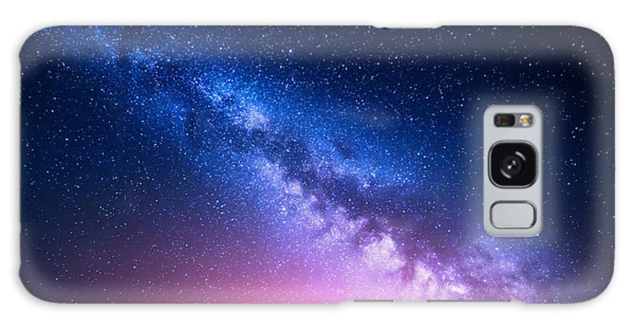 Nocturnal Galaxy S8 Case featuring the photograph Milky Way And Pink Light At Mountains by Denis Belitsky