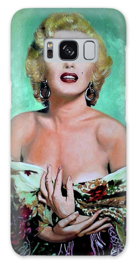Woman Galaxy Case featuring the painting M.Monroe 4 by Jose Manuel Abraham