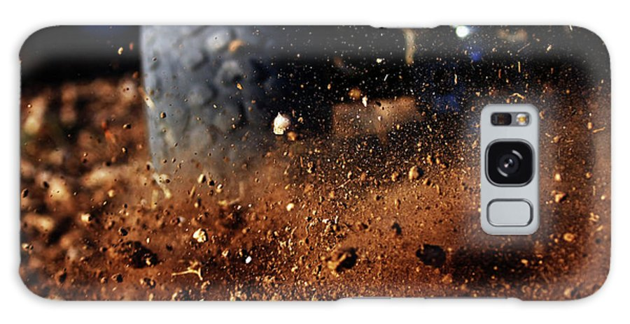 Outdoors Galaxy Case featuring the photograph Motorbike On Dirt Road, Close Up by Yaniv Ben Simon - Photography & Design