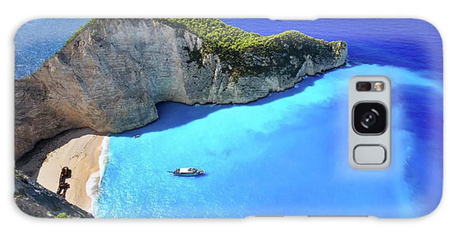 Extreme Terrain Galaxy Case featuring the photograph Navagio Beach, Zakynthos Island, Greece by Rusm