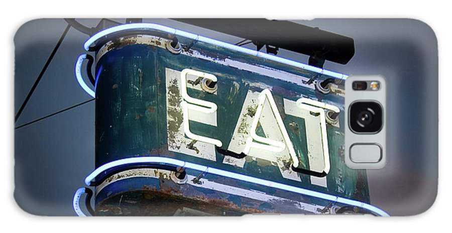 Hanging Galaxy Case featuring the photograph Neon Eat Sign by Kjohansen