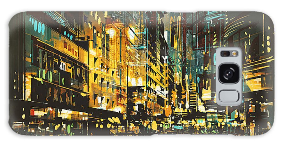 Color Galaxy S8 Case featuring the digital art Night Scene Cityscape,abstract Art by Tithi Luadthong