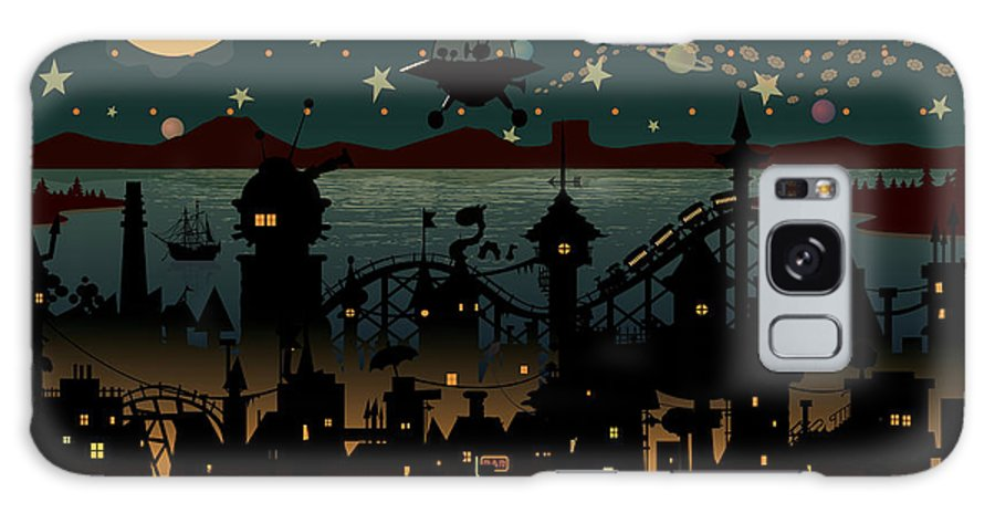 Chimney Galaxy S8 Case featuring the digital art Night Scene Illustration With Ufo by Mangulica
