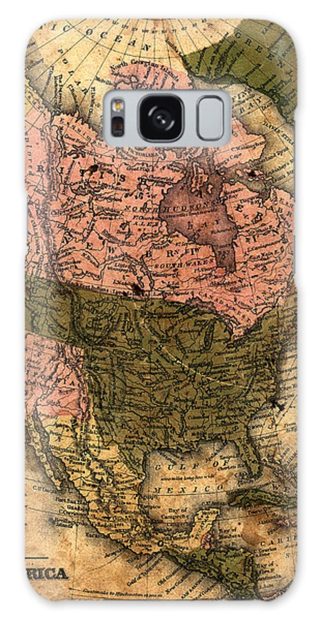 Outdoors Galaxy Case featuring the photograph Old North America Map by Belterz