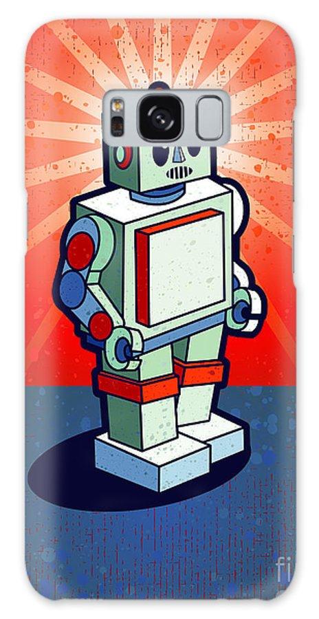 Grunge Galaxy Case featuring the digital art Old School Robot by Artplay