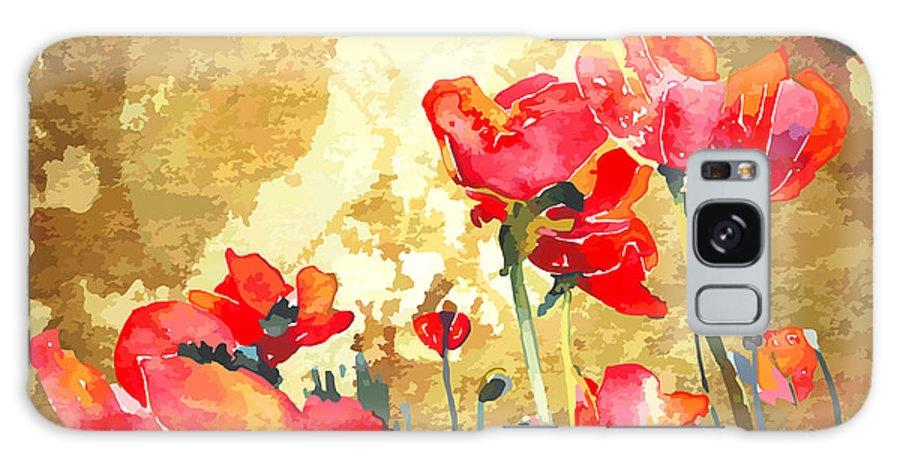Beauty Galaxy Case featuring the digital art Original Watercolor Poppy Flower In by Karakotsya