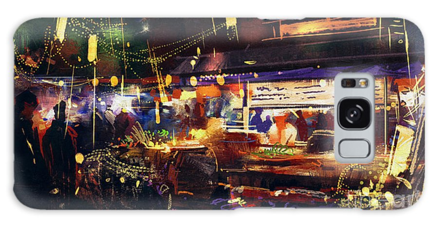 City Galaxy S8 Case featuring the digital art Painting Of Colorful Market At Night by Tithi Luadthong