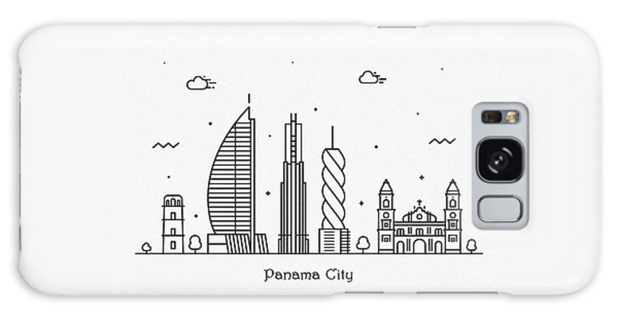 Panama City Galaxy S8 Case featuring the drawing Panama Cityscape Travel Poster by Inspirowl Design