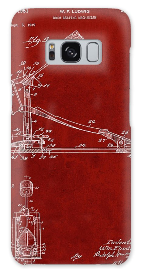 Pp104-burgundy Drum Kick Pedal Poster Galaxy Case featuring the digital art Pp104-burgundy Drum Kick Pedal Poster by Cole Borders