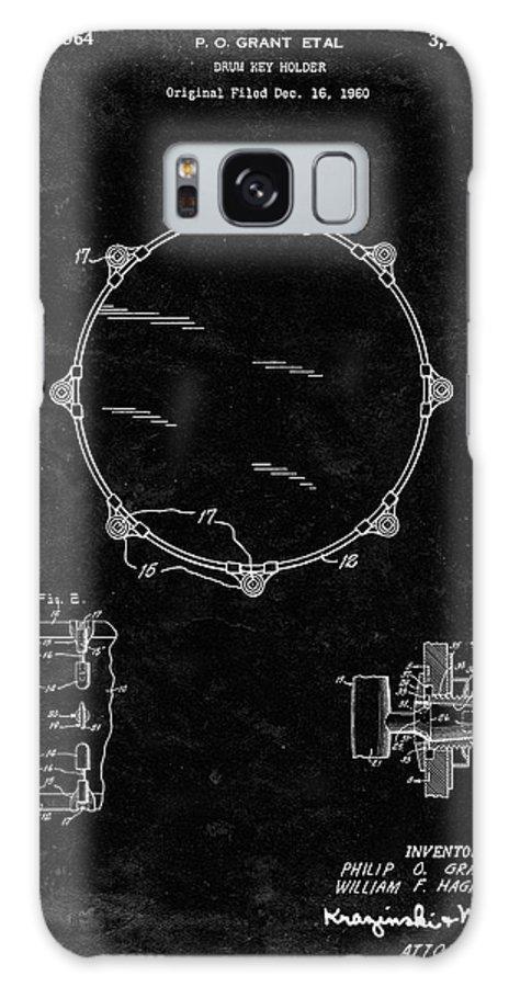 Pp105-black Grunge Drum Key Holder Patent Poster Galaxy Case featuring the digital art Pp105-black Grunge Drum Key Holder Patent Poster by Cole Borders