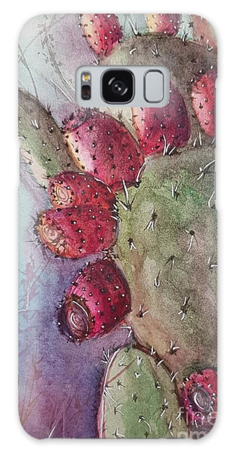 Purple Galaxy Case featuring the painting Purple Pricky Pear Cactus by Paola Baroni