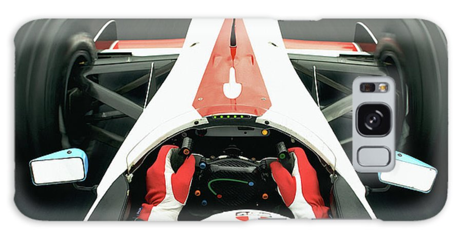 Aerodynamic Galaxy Case featuring the photograph Racing Driver Approaching Finishing by Alan Thornton