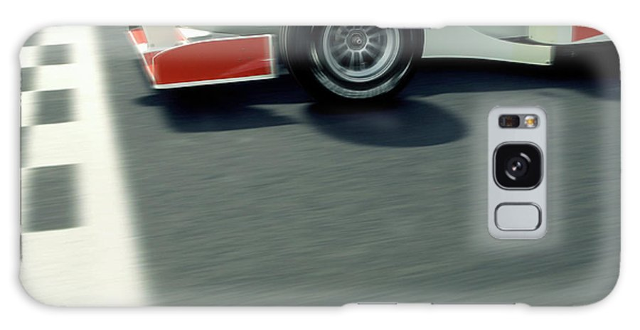 Aerodynamic Galaxy Case featuring the photograph Racing Driver Crossing Finishing Line by Alan Thornton