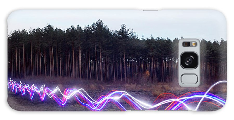 Internet Galaxy Case featuring the photograph Red, Blue And White Light Trails On by Tim Robberts
