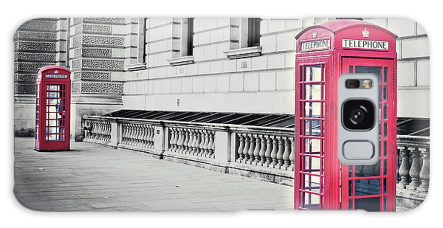 Pay Phone Galaxy Case featuring the photograph Red English Phone Booths In Black And by Zodebala