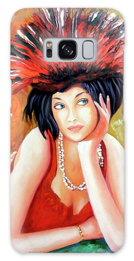 Women Galaxy Case featuring the painting Red Hat by Jose Manuel Abraham