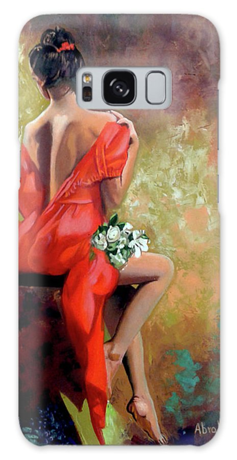 Women Galaxy Case featuring the painting Red Lady 2 by Jose Manuel Abraham
