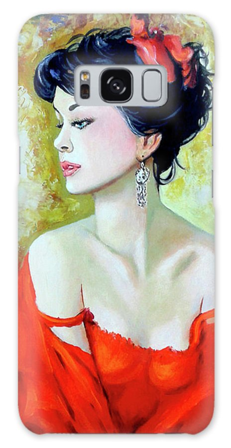 Lady Galaxy Case featuring the painting Red Lady by Jose Manuel Abraham