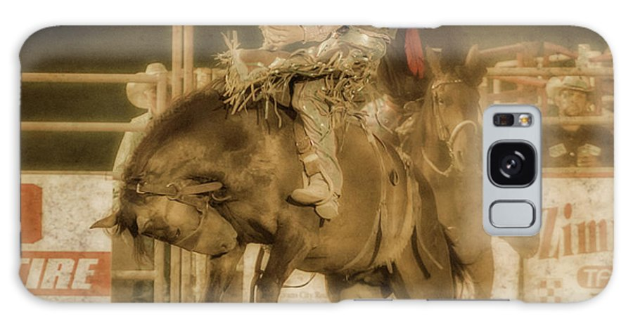 Rodeo Rider Bronco Busting Galaxy Case featuring the digital art Rodeo Rider Bronco Busting Sepia One by Randy Steele