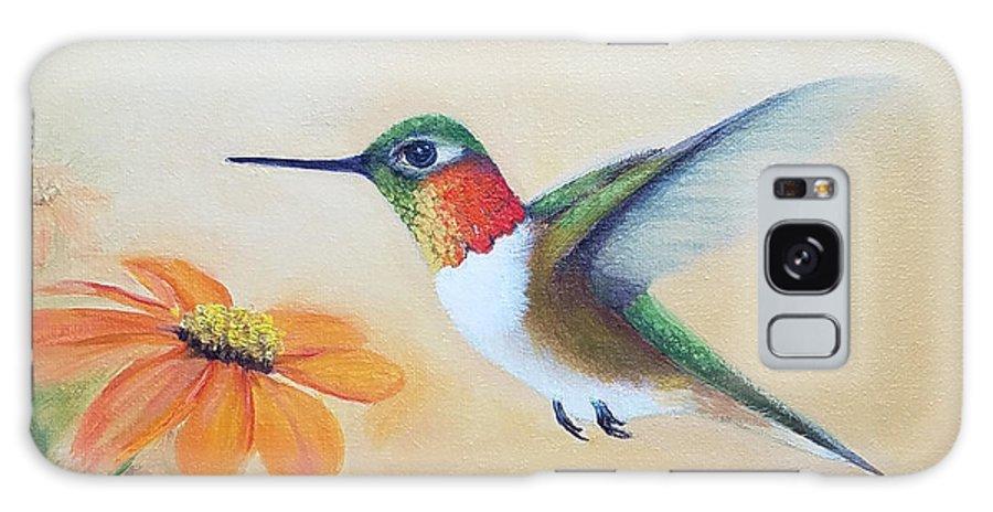 Rufous Hummingbird Galaxy S8 Case featuring the painting Rufous In Marigolds by Mishel Vanderten