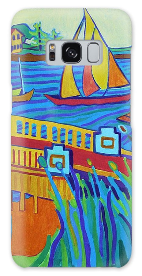 Landscape Galaxy Case featuring the painting Sailing at Tucks Point Manchester by the sea by Debra Bretton Robinson
