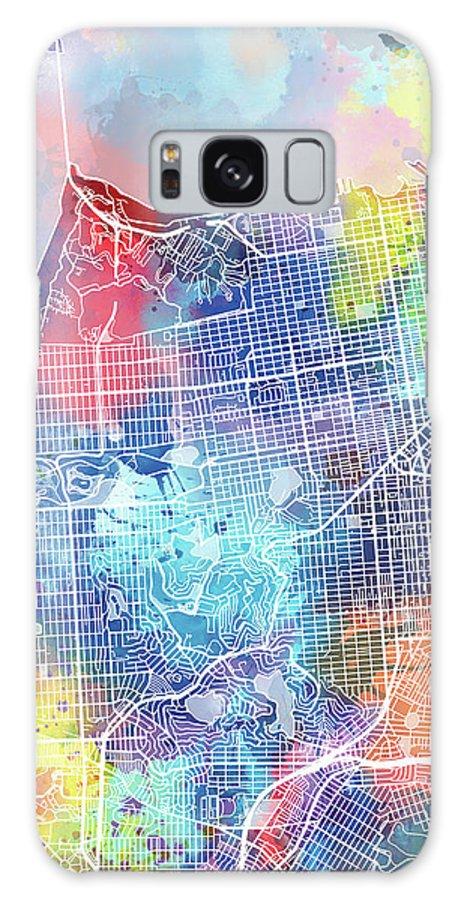 San Francisco Galaxy Case featuring the digital art San Francisco Map Watercolor by Bekim M