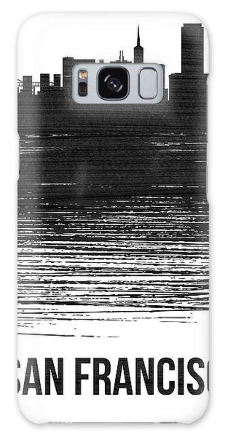 San Francisco Galaxy Case featuring the mixed media San Francisco Skyline Brush Stroke White by Naxart Studio