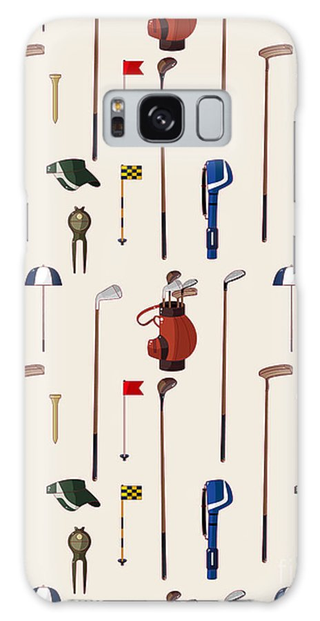 Play Galaxy S8 Case featuring the digital art Seamless Cartoon Golf Game Pattern by Notkoo