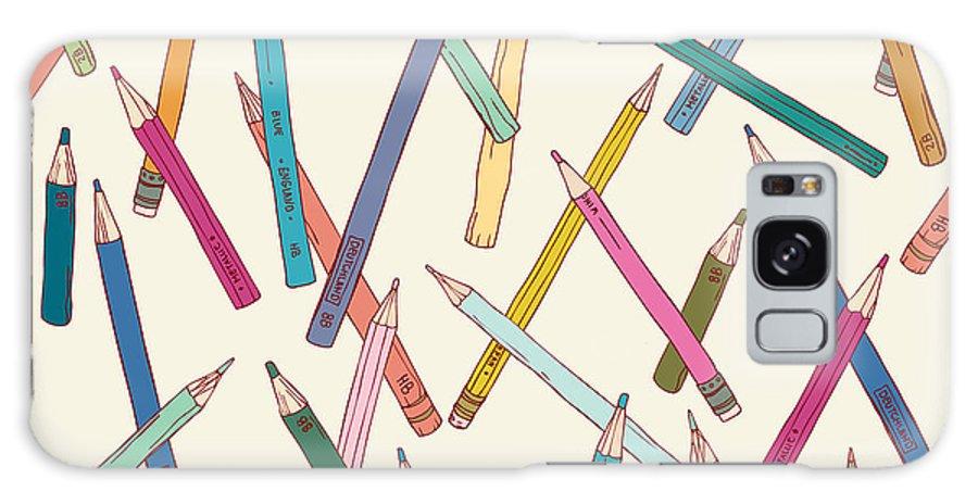 Childish Galaxy Case featuring the digital art Seamless Texture With Hand Drawn Comic by Mikhaylova Liubov