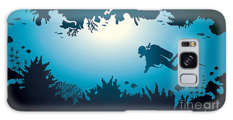 Deep Galaxy S8 Case featuring the digital art Silhouette Of Scuba Diver And Coral by Natali Snailcat