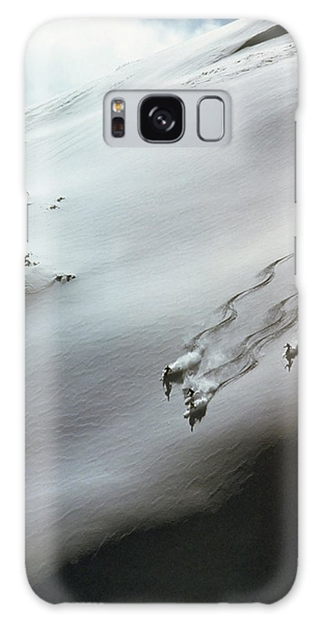 Shadow Galaxy Case featuring the photograph Skier Moving Down In Snow On Slope by John P Kelly