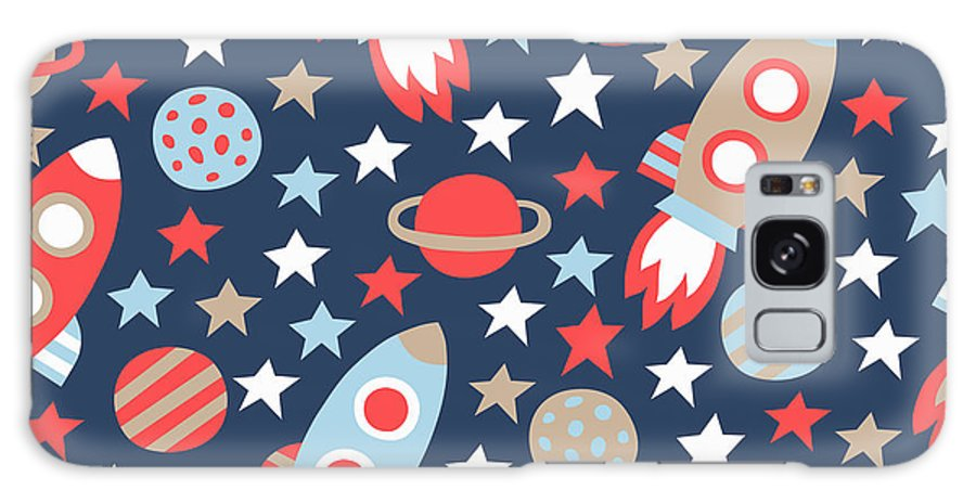 Saturn Galaxy S8 Case featuring the digital art Space Seamless Pattern by Texturis