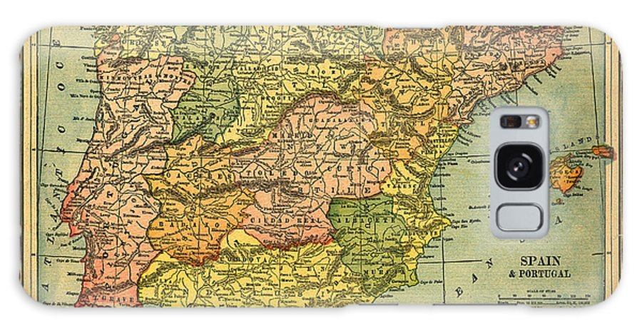 Weathered Galaxy Case featuring the photograph Spain & Portugal Vintage Map by Belterz