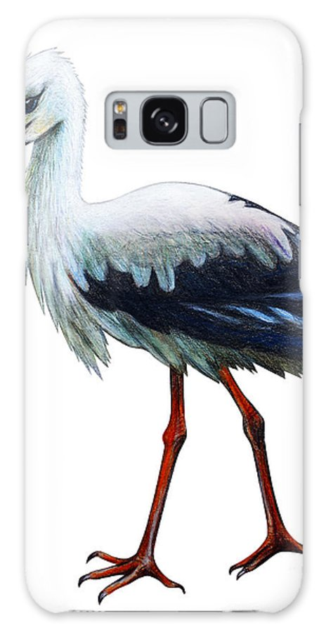 Beak Galaxy S8 Case featuring the digital art Stork Drawing Ciconia by Viktoriya art