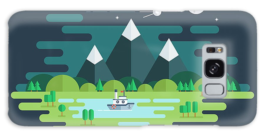 Ecosystem Galaxy Case featuring the digital art Summer Night Landscape. Nature by Finevector