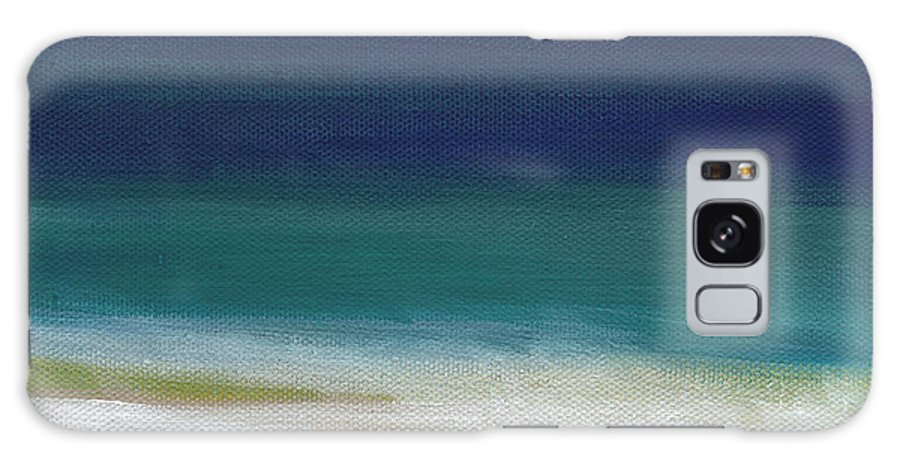 Abstract Galaxy S8 Case featuring the painting Surf And Sky- Abstract Beach Painting by Linda Woods