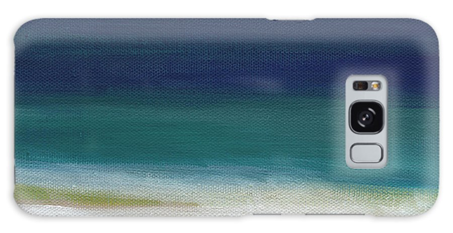 Abstract Galaxy Case featuring the painting Surf And Sky- Abstract Beach Painting by Linda Woods